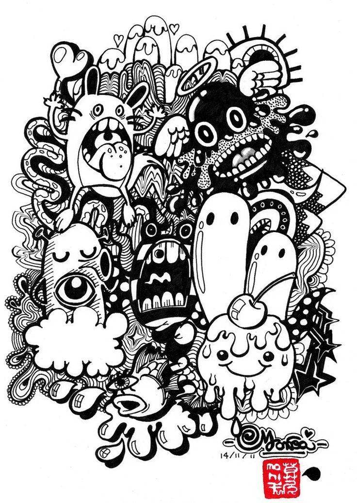 382 best Doodle & Monster Coloring Pages images on ...