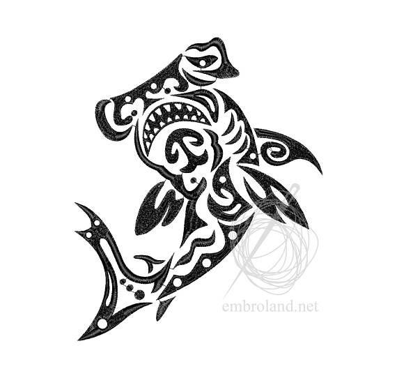 Hammerhead Fish Tattoo Machine Embroidery Design Instant