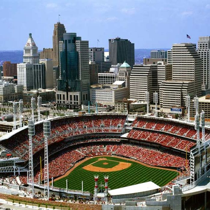 Great American Ballpark -- loved the location in downtown Cincinnati on the river (and just around the corner from the WKRP fountain).