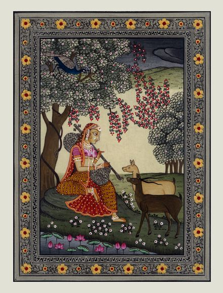 Paintings from 'Ragamala' collection inspired by music. A 'raga' is a traditional Indian musical form. 'Ragamala' means a 'garland of ragas', a set of paintings in which each 'raga' is represented by a scene or person. 'Todi Ragini' is a late morning melody characterized by a mood of gentle adoration. Here, 'Todi Ragini' typically depicts a young woman in a forest playing a Veena with an attentive audience of gazelles. Dimensions - 5.5X7.5 inches Painting on silk Contact KalaCafe to buy