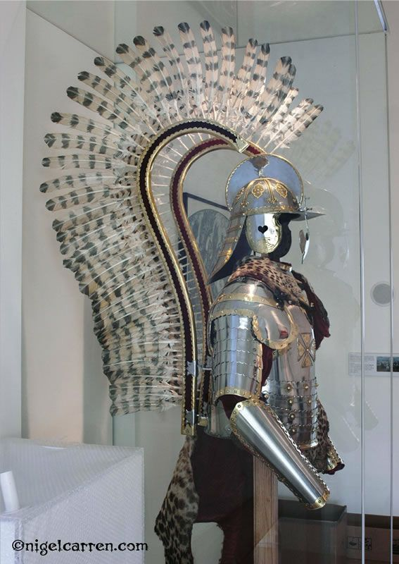 Polish Winged Hussar armour showing all 86 hand painted eagle feathers (Nigel Carren).