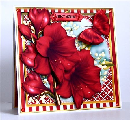 The Beautiful Amaryllis Card Front Kit on Craftsuprint created by Denise Murray - Printed on to matte photo paper,mounted on to a 7 inch card blank and attached the insert. I used glue gel to ad shape to the decoupage elements and finished with red crystal gems. A beautiful design in stunning colours. This finished card is available with any of the sentiments listed above,please ask.