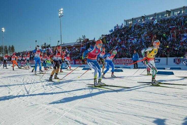 15.03.2015, Kontiolahti, Finland (FIN): Women Mass Start. Kaisa Mäkäräinen, Darya Domracheva, Franziska Hildebrand.- IBU world championship biathlon, Kontiolahti (FIN),