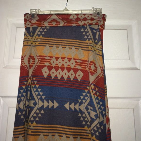 Maxi skirt Aztec design maxi shirt! Has blue, orange, red, and beige colors. Fits wonderfully! living doll  Skirts Maxi