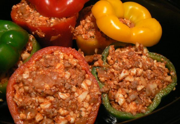 Crock Pot Sausage Stuffed Peppers - family-style comfort food for 4. Use nitrate-free turkey or chicken Italian sausage (chopped or ground). You can use the suggested cauliflower rice or 2 cups of cooked quinoa for Phase 3, or 4 cups of cooked quinoa or brown rice for Phase 1 (if it won't all fit in the peppers, just serve it alongside).
