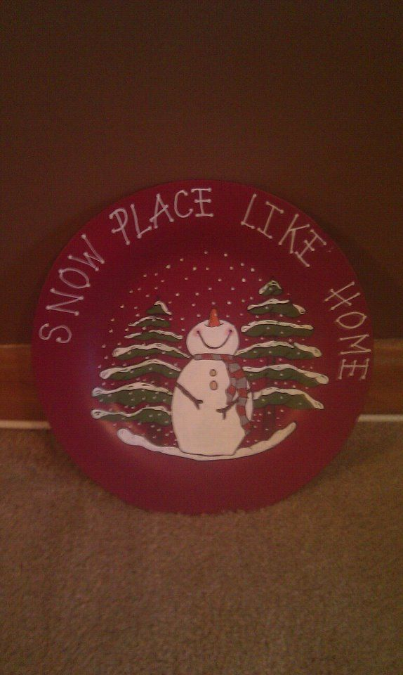 hand painted ceramic Christmas plates, yes this is my original work :) all hand painted