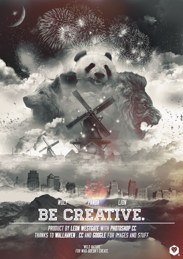 "Leon Westgate on Behance ""Be creative"" poster / Manifesto. Photoshop ispiration."