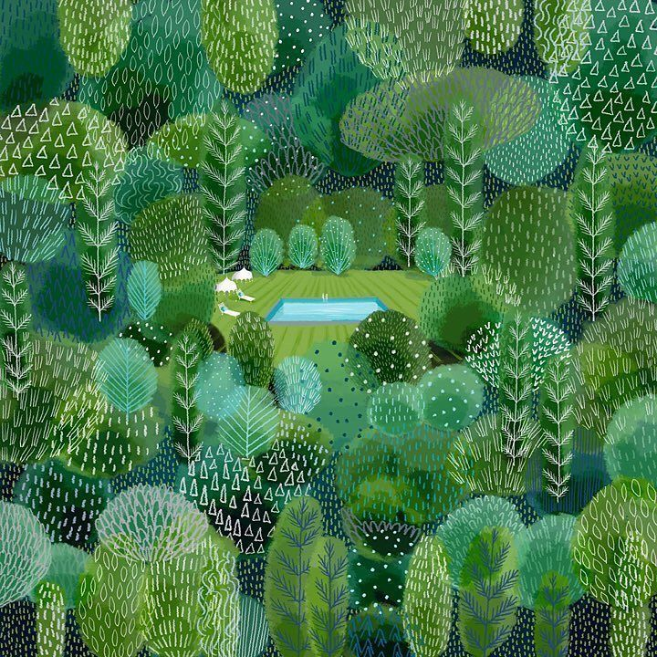 jane newland (@janenewland) | Twitter Colour study, #pantone colour palette #fathomless #greenery #forest #illustration