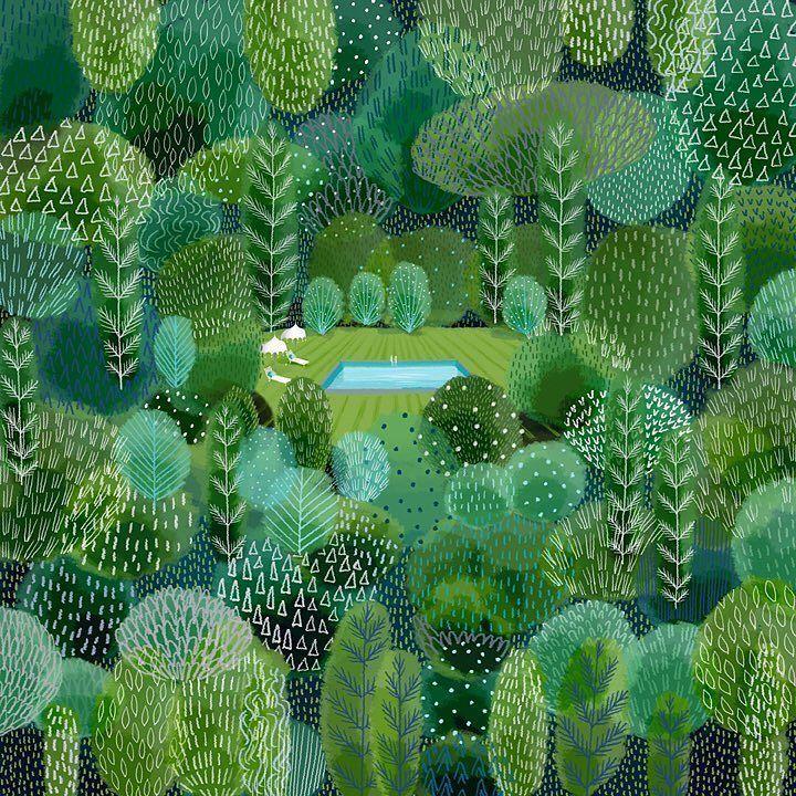 jane newland (@janenewland)   Twitter Colour study, #pantone colour palette #fathomless #greenery #forest #illustration