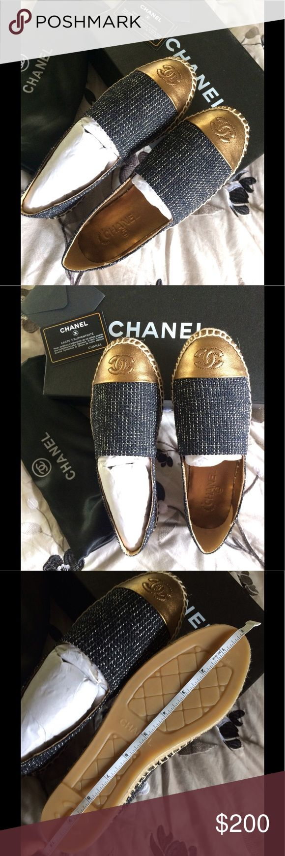 Chanel espadrilles PLEASE READ BEFORE BUY.                                    SAME DAY SHIPPING, COME WHIT DUST BAG , BOX, RUN SMALL SIZE , FIT LIKE 7 US (TAG SAID 8 ), PRICE REFLECT , HIGH QUALITY MATERIAL .                                                                 IF YOU HAVE A PROBLEM WHIT YOUR ORDER CONTACT ME BEFORE PLEASE , THANK YOU :) Shoes Espadrilles