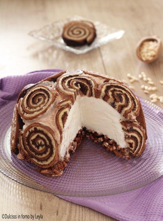 Torta gelato con girelle o Zuccotto gelato: super veloce Dulcisss in forno by Leyla