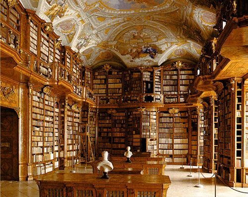 Baroque library at the Abbey of St. Florian in Austria ...