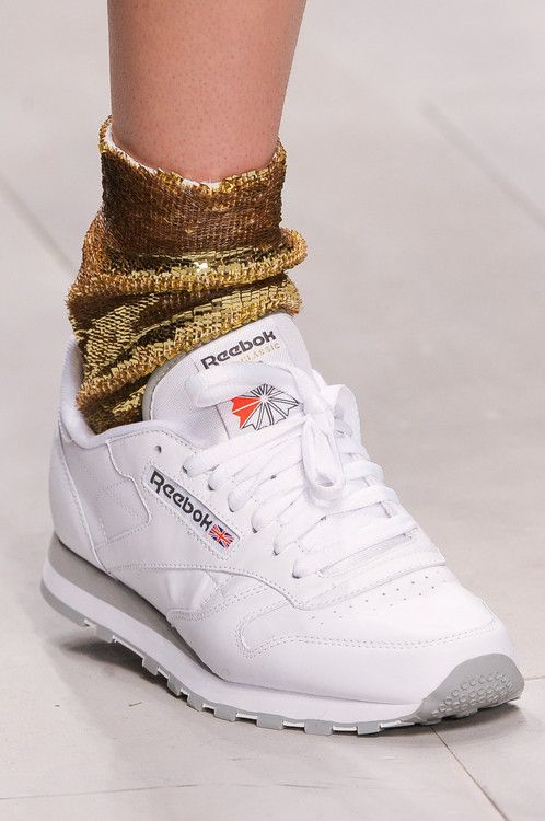 Classic White Reeboks with Gold Sequin Socks