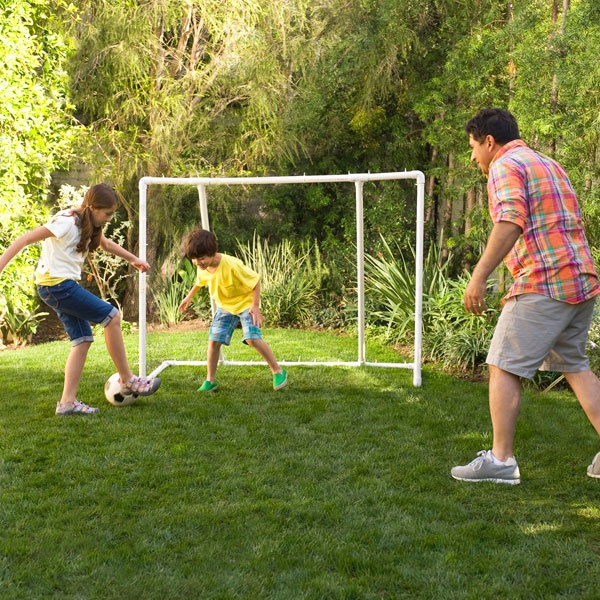with this easy to make backyard soccer goal constructed with pvc pipe