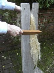 scutching, after breaking the flax is scraped by a wooden knife as it hangs down a board.