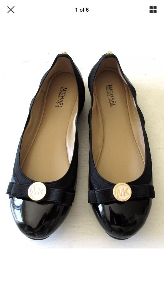 875d2a251480 New Michael Kors Womens Dixie Ballet Flat Black Leather Shoes Bow Gold MK  Logo  fashion