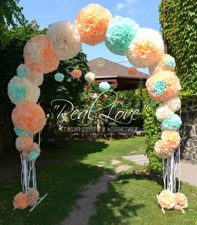 Paper pompons. Wedding pompons arch