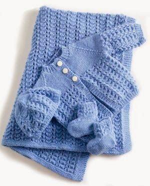 Conjunto em tricô para bebê - azul | Eu que Fiz - Vovó Baisa