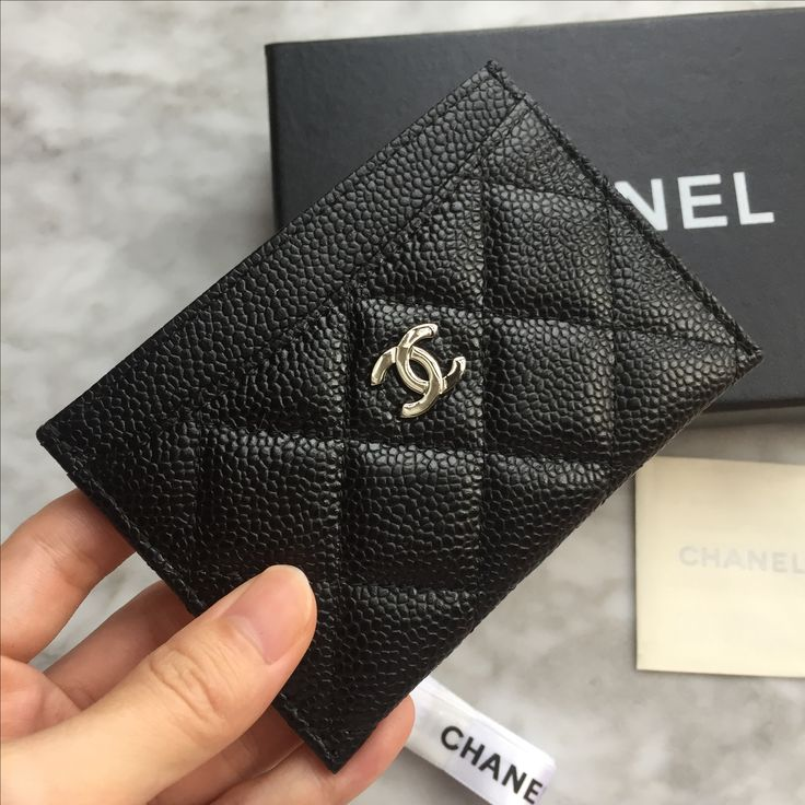 Chanel card holder black caviar leather
