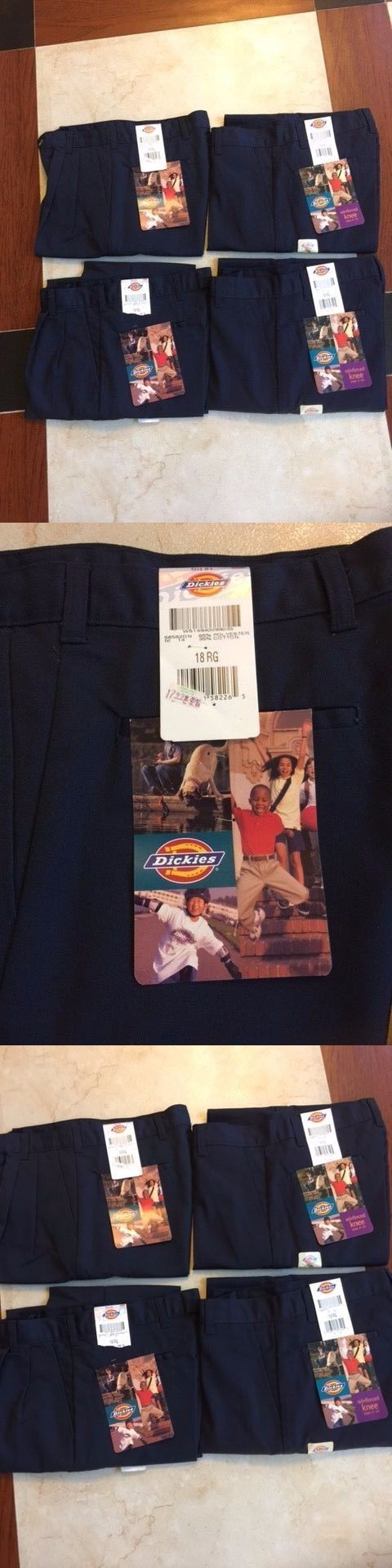 Pants 51920: Lot Of 4 Dickies Pants Boys School Uniform Pants Plain Front Size 18 Rg -> BUY IT NOW ONLY: $32 on eBay!