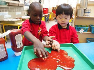 mark making in blood (ok, tomato ketchup) #abcdoes #markmaking #engagingboys #eyfs