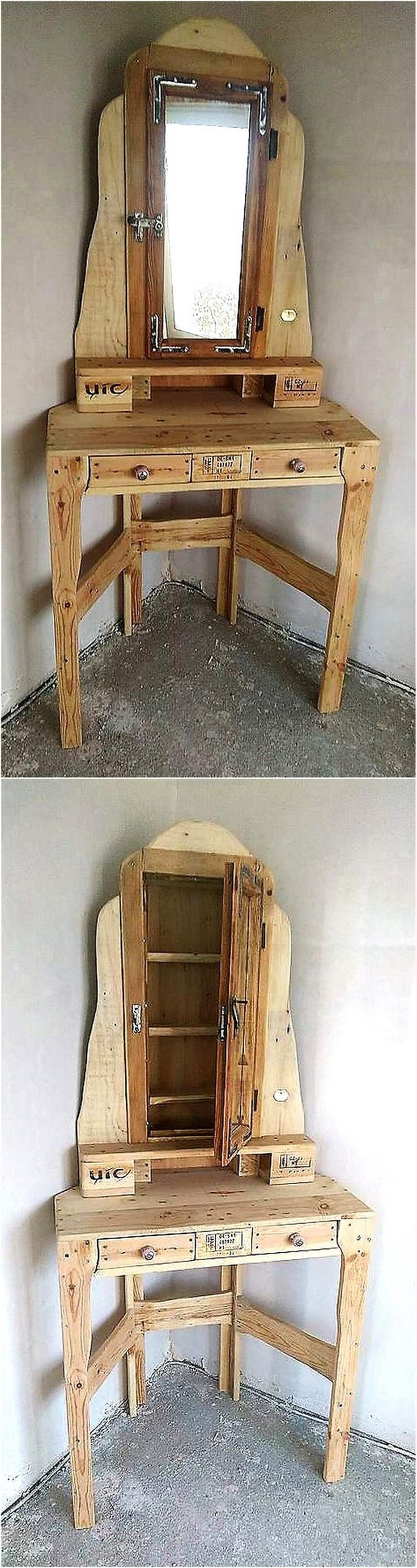 Now come to the creative creation for the bedroom other than the bed, the whole room can be filled with the items made up of wood pallets just like this vanity plan. This idea is great to save the space as it is for the placement in corner of the room.