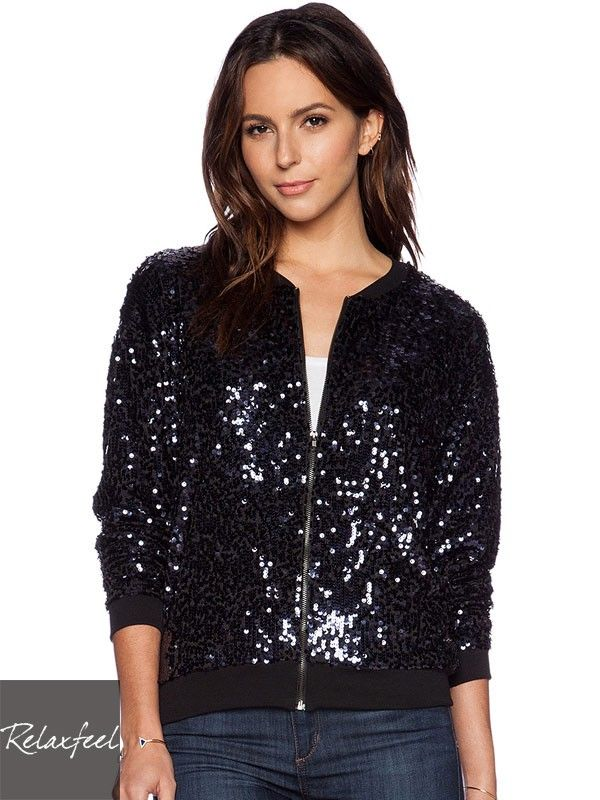 Relaxfeel Women's Dark Blue Sequin Long Sleeve Zip-Up Jacket - New In