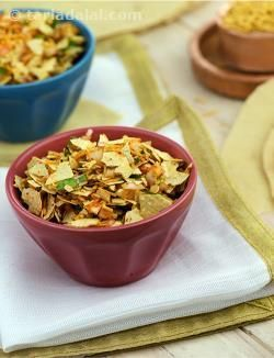 Another favourite Marwari snack that often accompanies meals. As the name suggests it is a preparation of crushed papads which are tossed in spices and ghee. I have added some Bikaneri bhujia to this recipe to provide extra crunch. Bikaneri papads are a thicker and fierier variety of papads and are better for use in this recipe as they do not get soggy very fast. You will find these at some speciality stores.