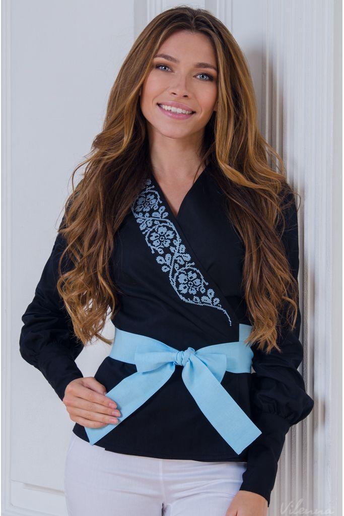Блуза на-запах з вишивкою та поясом-бантом • чорний • інтернет магазин • vilenna.ua