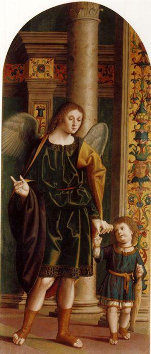 Marco Palmezzano  (Forlì, 1459 – Forlì, 1539 , Tobiolo e l'Arcangelo Raffaele, Pinacoteca Comunale di Faenza