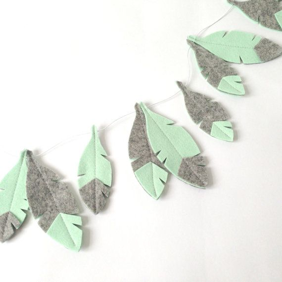 Feather Bunting Mint green and grey Feathers bohemian by LilyRazz