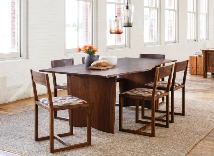 Live Edge Dining Table In Western Walnut With Celilo Chairs