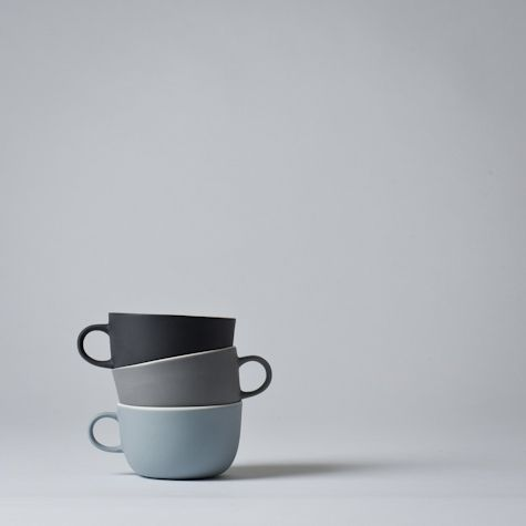 LINUM TEACUP / Nathalie Lahdenmaki  The Linum series is by Finnish ceramicist Nathalie Lahdenmaki. The series consist of handmade vessels with matte exteriors and white glazed interiors.