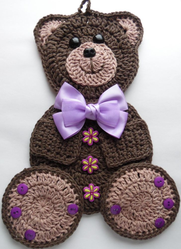 Crocheted Kitchen Potholder Bear Decoration with Buttons