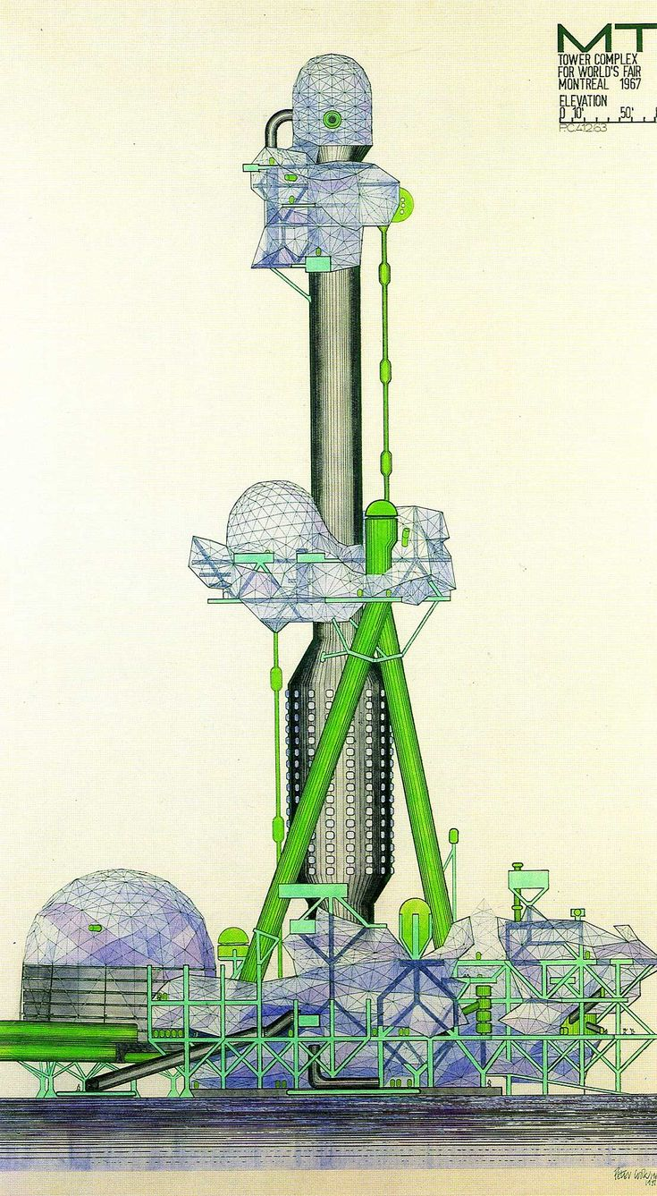 Love this! Tower Complex for #Montreal Worlds Fair 1967. #Archigram Peter Cook #Architecture