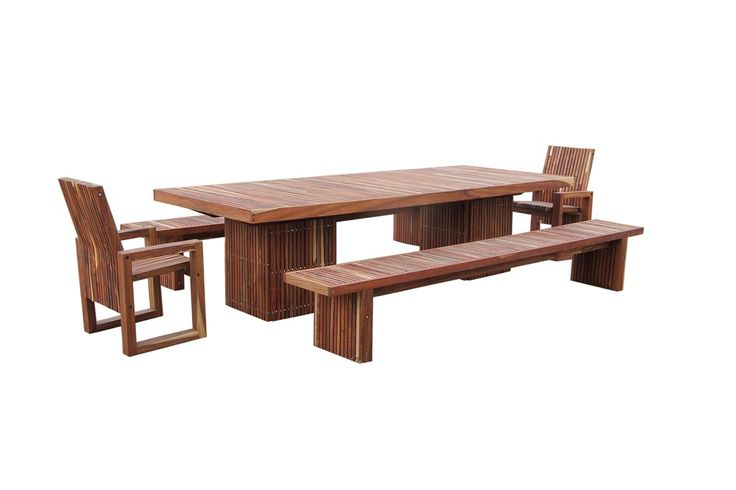 An exceptional outdoor set in our Hlepu slat technique. The chairs are standard, the table and benches made to the customer's brief.