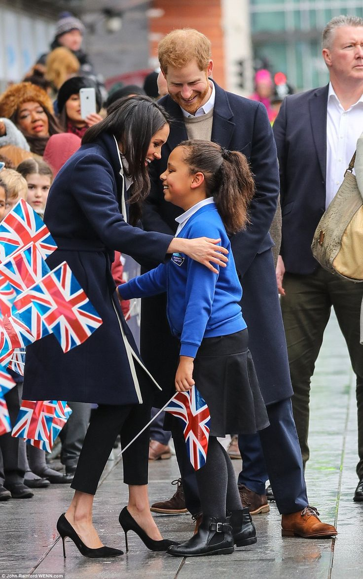 Meghan hugged the ten-year-old schoolgirl who told Harry she wants to be an actress at the...
