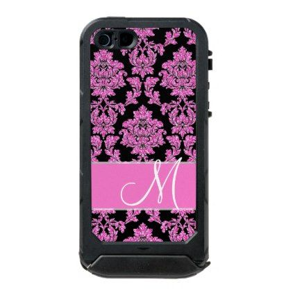 Hot pink glitter damask pattern on black Monogram Waterproof iPhone SE/5/5s Case - glitter glamour brilliance sparkle design idea diy elegant