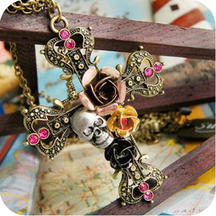 European and American jewelry roses skull retro cross necklace sweater chain ,shop at Costwe.com