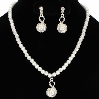 bridesmaid white pearl necklace set elegant wedding jewelry 1899 gift boxed