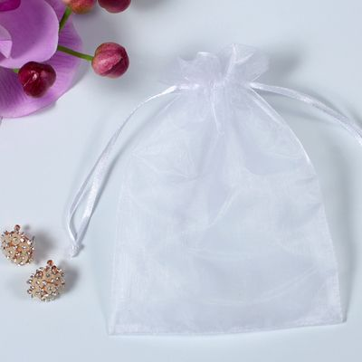 Orangza Pouch White Color size 13X18CM, Gift Packaging Silk Bag with Drawstring, Wedding Candy Packaging Pouch, 100 Pieces/Lot