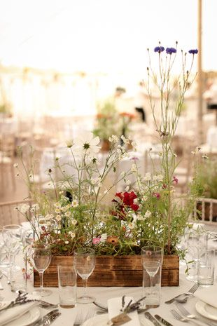wildflower table centrepiece - Read more on One Fab Day: http://onefabday.com/lisnavagh-wedding-by-will-oreilly/