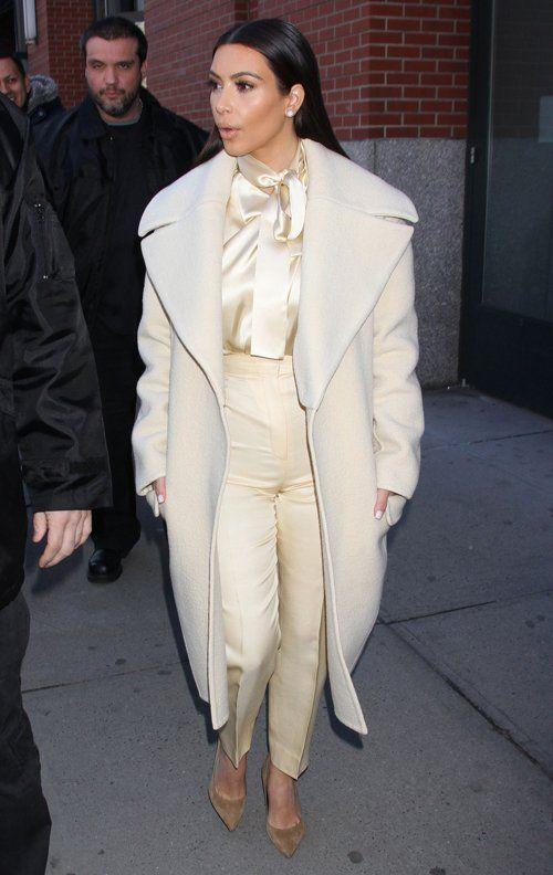 Kim Kardashian wearing Saint Laurent Paris Pointed Suede Pump Celine Fall 2013 Coat