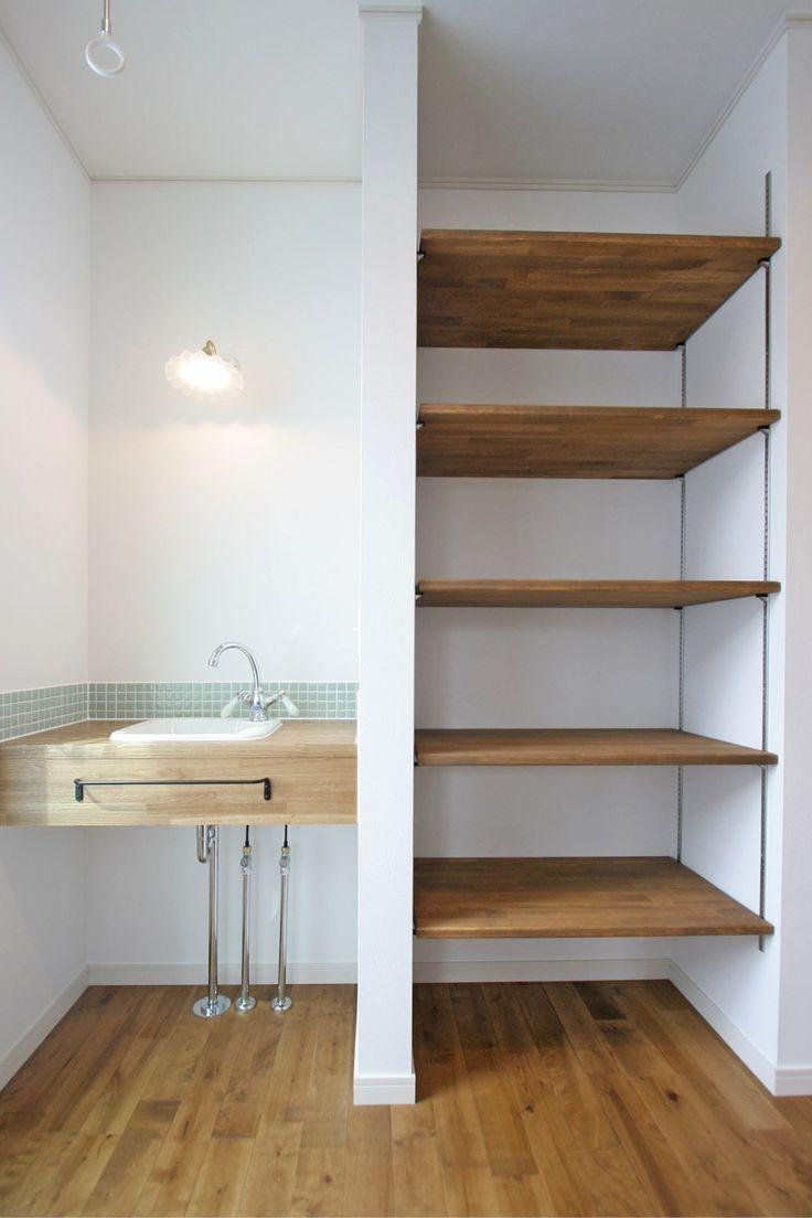 造作洗面台/収納/タイル/ナチュラルインテリア/インテリア/注文住宅/施工例/ジャストの家/washstand/lavatory/powderroom/bathroom/vanity/natural/design/interior/house/homedecor