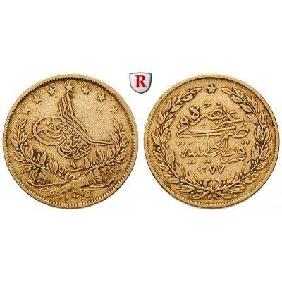 Osmanisches Reich, Abdul Aziz, 100 Piaster 1868 (AH 1285), 6,56 g fein, ss: Abdul Aziz 1861-1876. 100 Piaster 6,56 g fein, 1868 (AH… #coins