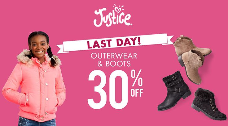 Online Only : Take 30% #off outerwear & boots.  Store : #JusticeJustForGirls Scope: Entire Store   Ends On : 10/19/2016    Get more deals: http://www.geoqpons.com/Justice-Just-For-Girls-coupon-codes  Get our Android mobile App: https://play.google.com/store/apps/details?id=com.mm.views    Get our iOS mobile App: https://itunes.apple.com/us/app/geoqpons-local-coupons-discounts/id397729759?mt=8
