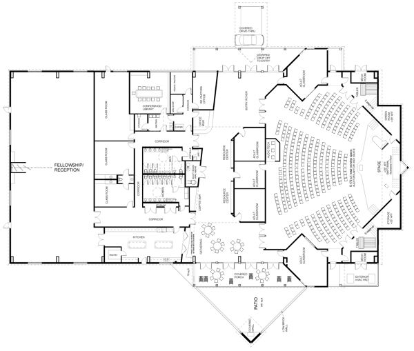 Auditorium plan arquitectura educativa pinterest for Small church blueprints