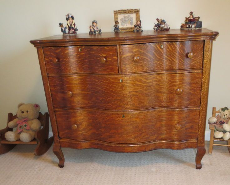 Early 1900s Serpentine Tiger Oak 4 Drawer Dresser After Restoration Restored Antique
