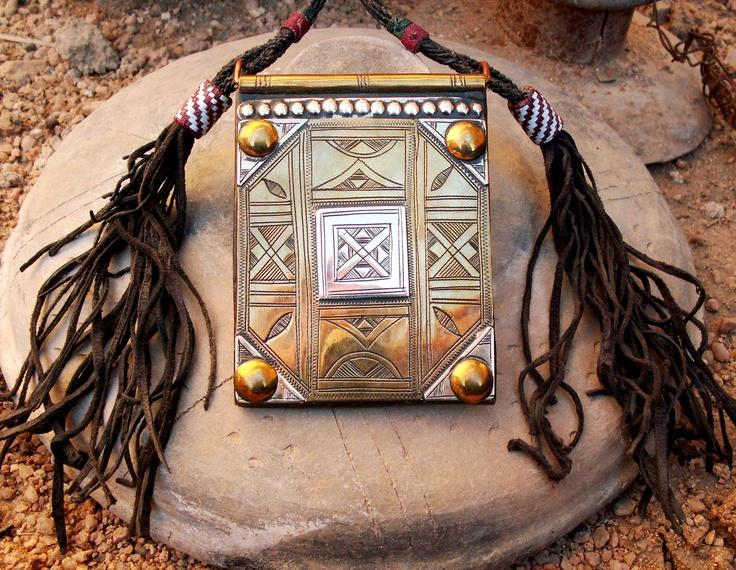 Tuareg Gri Gri AMULET on dark coloured leather | Materials: yellow / red copper, tuareg silver/leather