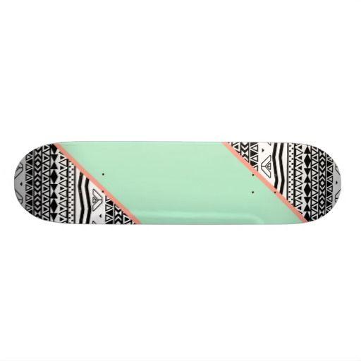 Black White Aztec Pattern Mint Green Color Block Skateboards